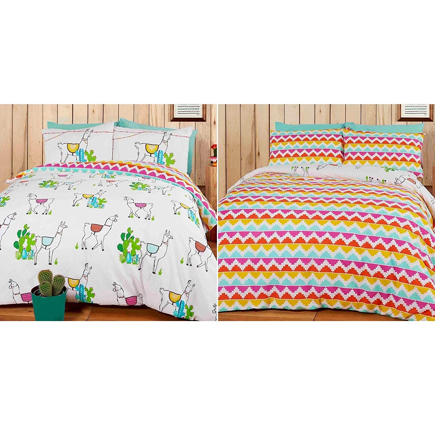 Rapport Happy Llamas Reversible Duvet Set, Polyester-Cotton, Multi-Colour, 200 x 200 x 1 cm LLAMAS-DOUB-MULT