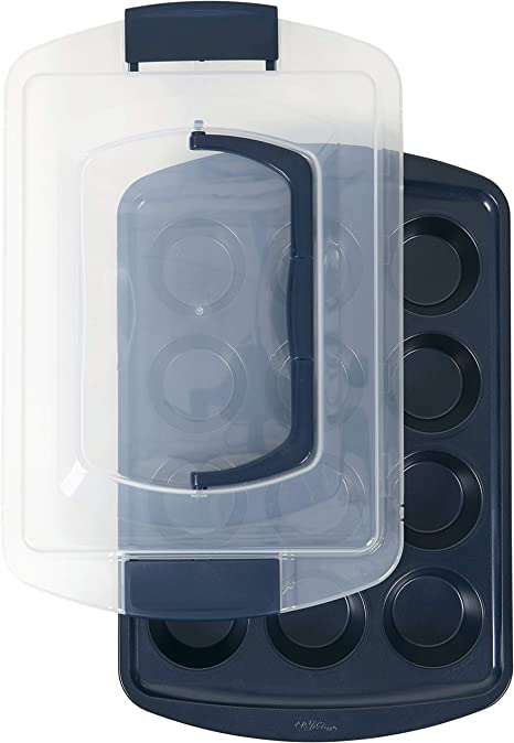 Wilton Non-Stick Diamond-Infused Navy Blue Muffin and Cupcake Pan, 12-Cup