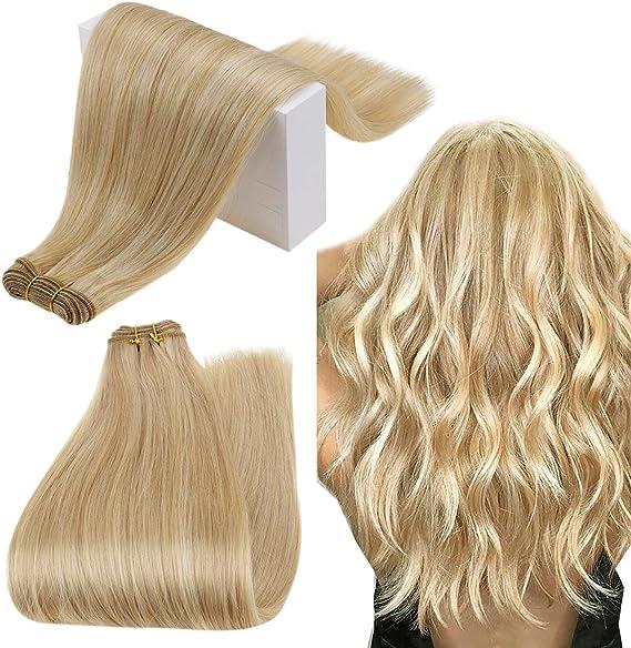 Runature Paquetes De Cabello 36Cm Color 27P60 Strawberry Blonde Mix Platinum Paquete Rubias Silky Straight 100G Double Weft Blonde Cabello Humano ...