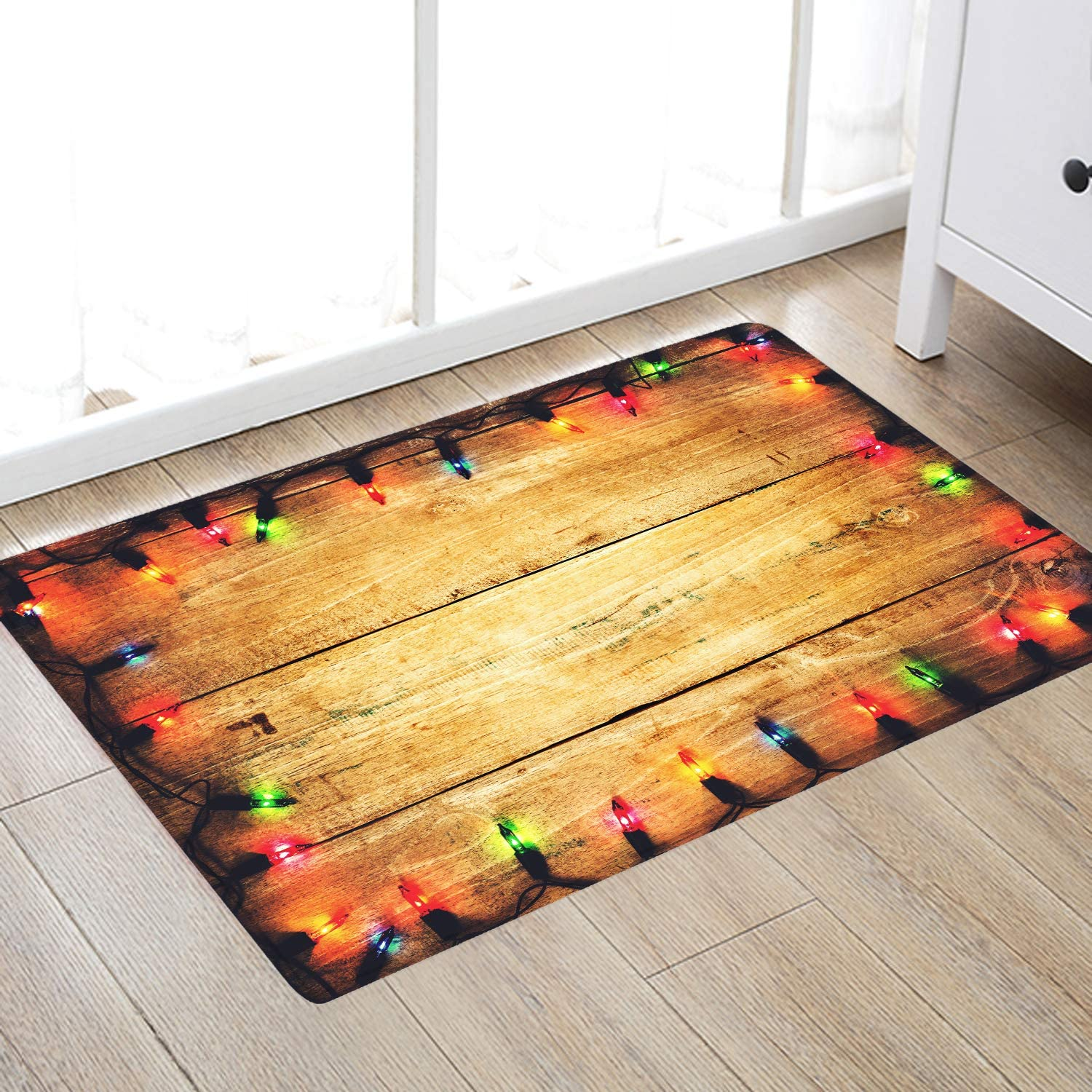 Light Color Light Board Print Memory Foam Comfort mat Non Slip Super Soft Coral Fleece rug Doormats Carpet for Kitchen Dining and Living Room 24 x 16 inches