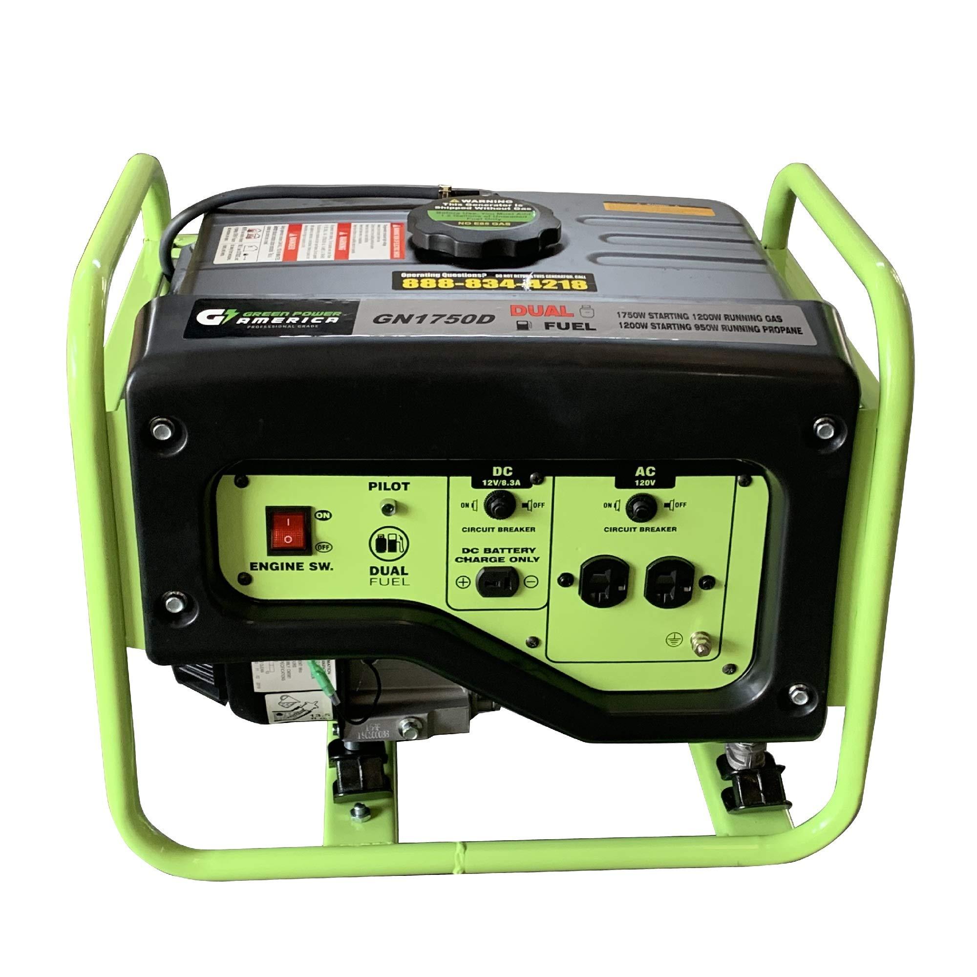 Green-Power America GN1750D 1750-Watt Propane and Gasoline Powered Dual Fuel Generator, Green by Green-Power America