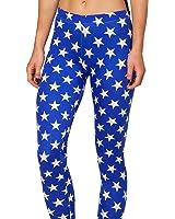 Ensasa Women'S Fashion Digital Print Blue Stars Spandex Strenchy Leggings