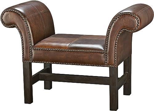 Best ottoman chair: Howard Elliott 13144 Faux Leather Studded Divan Ottoman