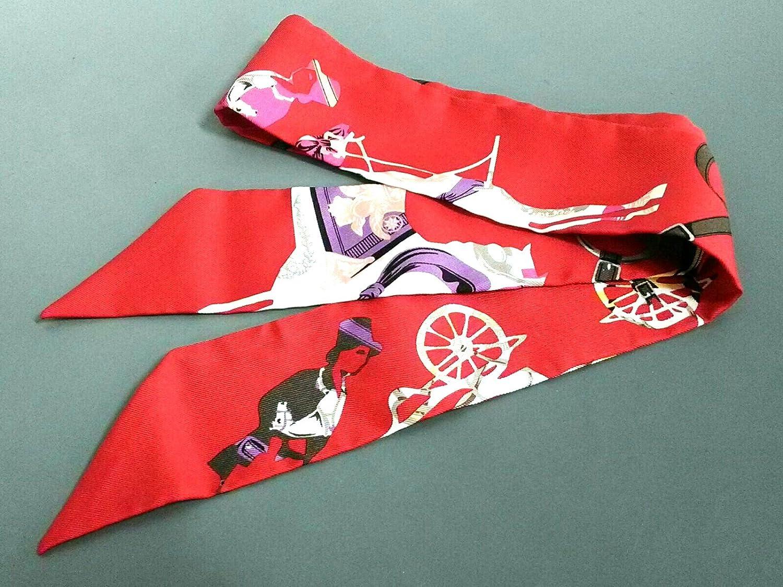 (エルメス) HERMES スカーフ レッド×白×マルチ ツィリー 【中古】 B07FSNR9F3  -