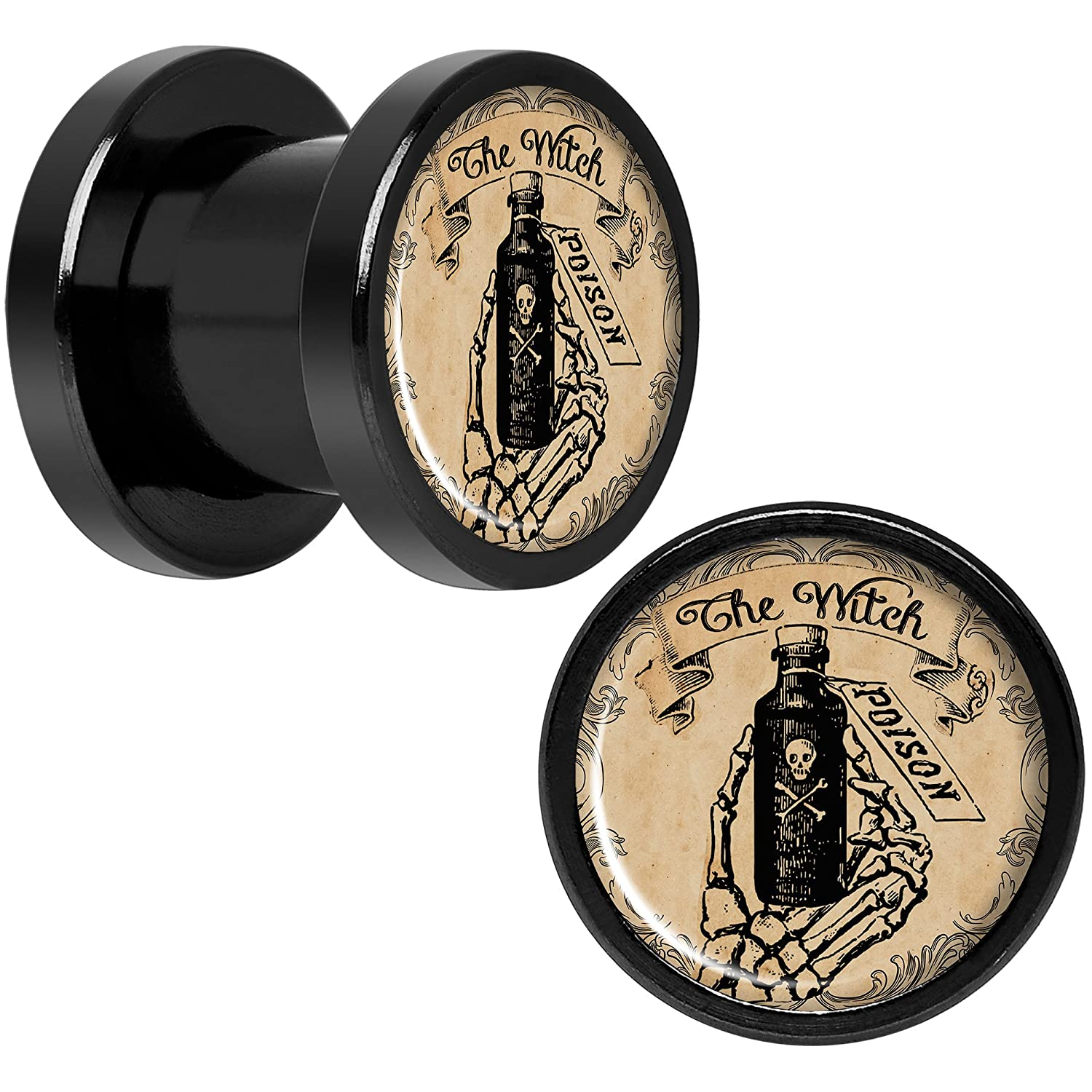 Body Candy Black Anodized Titanium Steel Witches Brew Poison Potion Halloween Plug Set of 2 8mm to 20mm