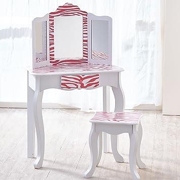 teamson meuble coiffeuse table de maquillage enfant miroir tabouret rose blanc
