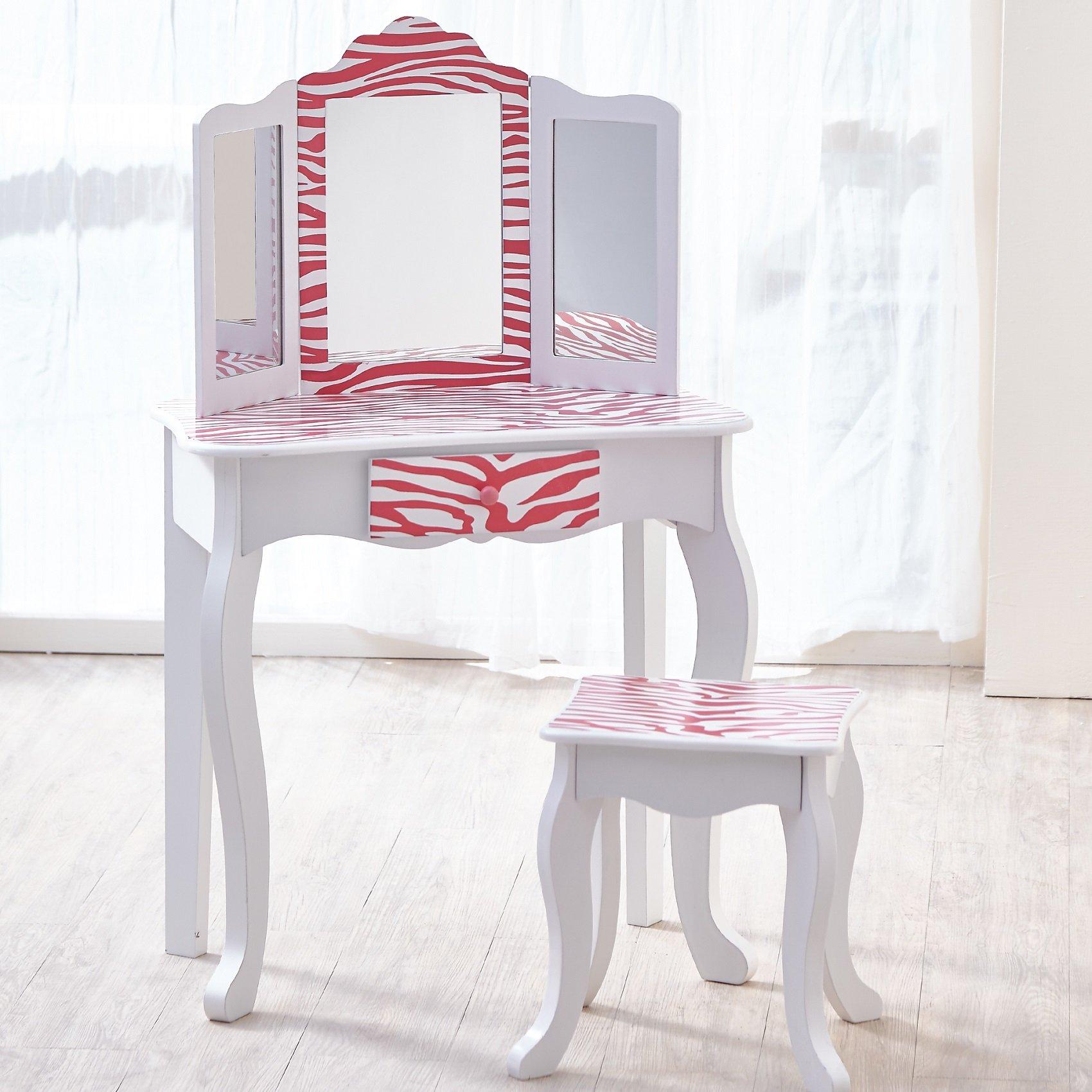 Teamson Kids - Fashion Prints Girls Vanity Table and Stool Set with Mirror - Zebra (Pink / White)