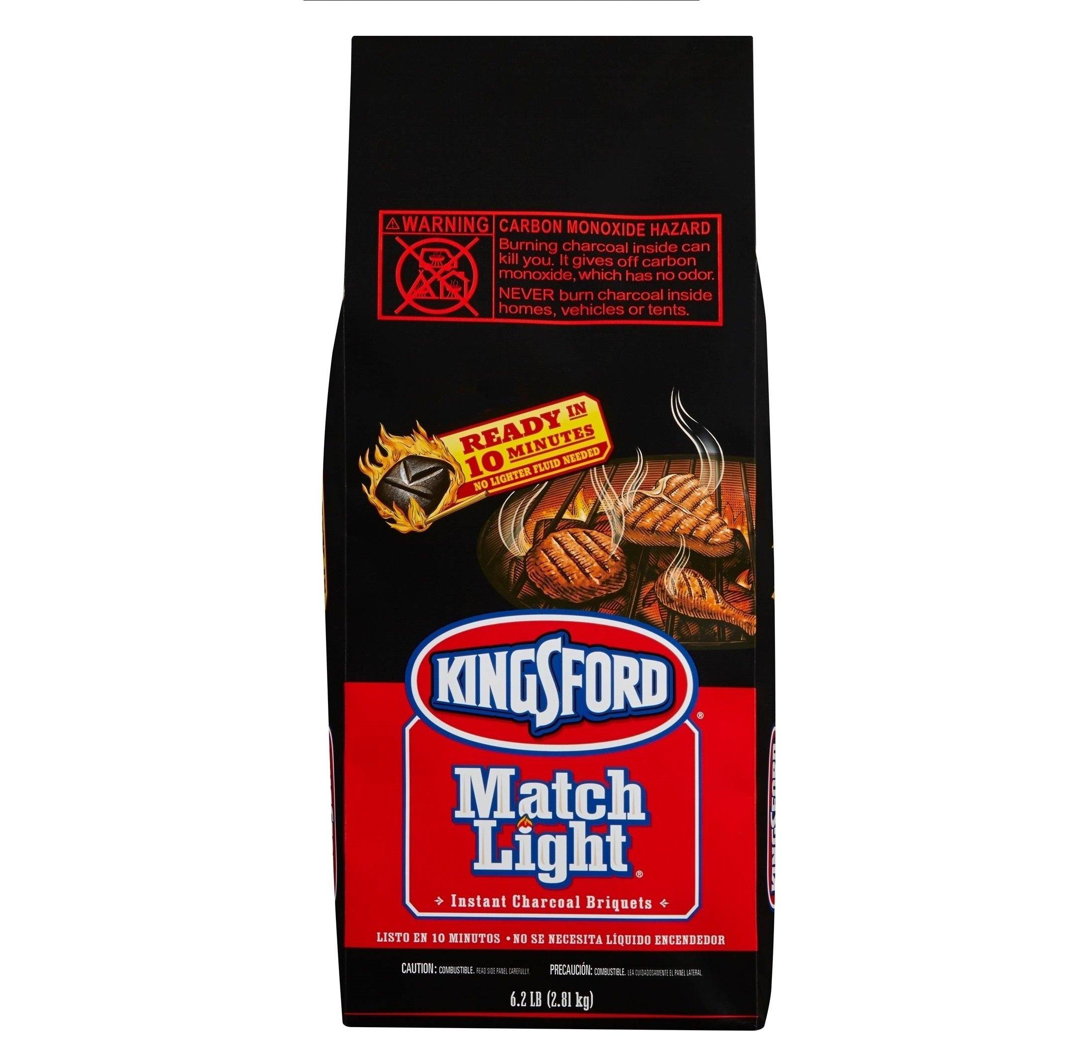 Kingsford Match Light Charcoal Briquets, Two 6.2 lb Bags