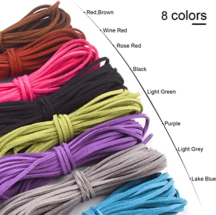 iPobie 10 Pcs 5m x 3mm Faux Leather Cord Suede String for Bracelet Necklace Beading DIY Jewelry Handmade Crafts