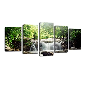 amazon com laiwang 5 panels modern green trees waterfall pictures
