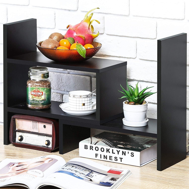 Counter Top Bookcase Brown Adjustable Wood Desktop Storage Organizer Display Shelf Rack
