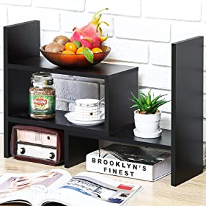 Desktop Bookshelf Desk Storage Organizer Adjustable Wood Desktop Display Shelf Rack Counter Office Storage Rack Top Bookcase - Free Style Display Natural Stand Office Supplies Desk Organizer, Black