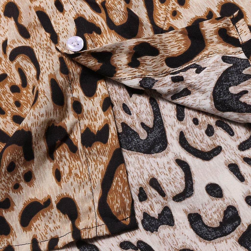 Hotsell〔ㄥ〕Mens T-Shirts Beach Lapel Shirt Summer Man Cool Office Formal Retro Leopard Printed Blouse Casual Short Sleeve Shirts Tops Brown