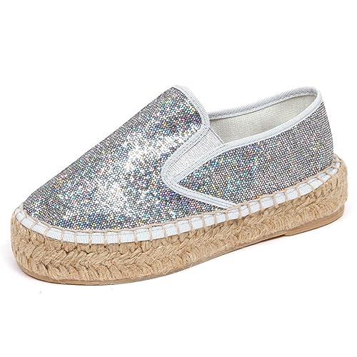 921cc4fbe53ef9 FLORENS F7976 Espadrillas Bimba Girl Tissue Silver Glitter Multicolor Shoe  [29]