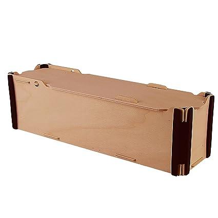 Pack de 3 Cajas de Vino Individuales - Madera y plástico - Montaje manual tipo puzzle - Ideal para regalos