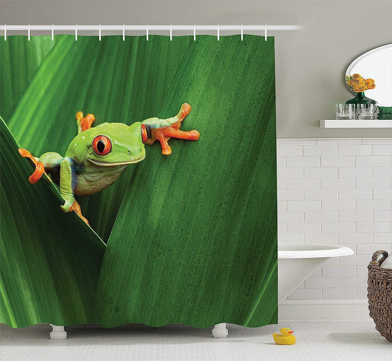 werert Animal Decor Shower Curtain Set, Macro Cute rojo Eyed Frog Between Exotic Macro Set, Big Leaves Wild Nature Night Animal Vivid Colors Image, Bathroom Accessories,verde 72 X 72 1ea0c5