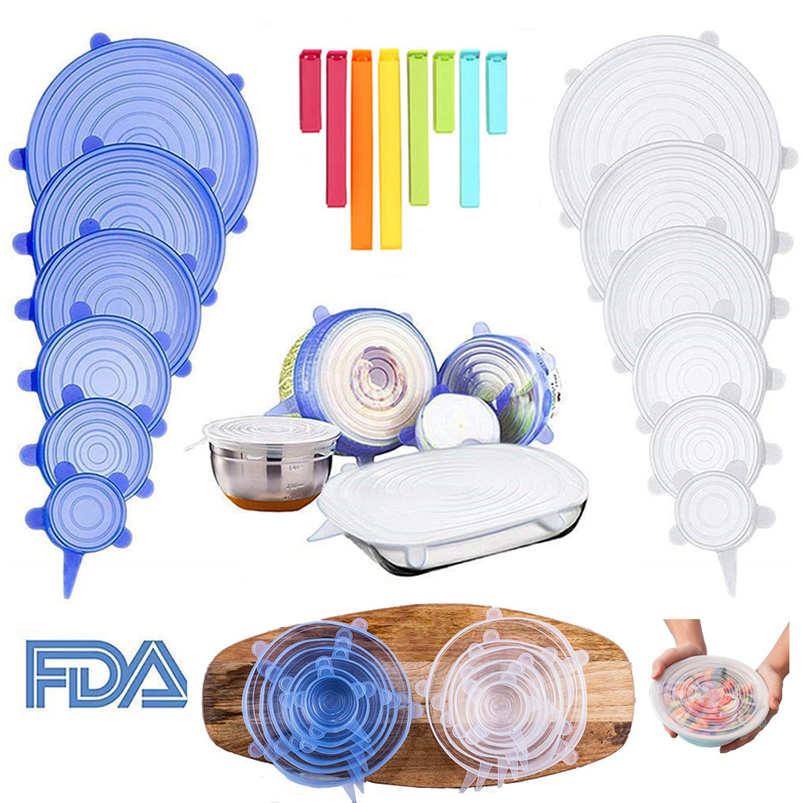 Silicone Stretch Food Covers Lids - Various Sizes Reusable Durable and Expandable Containers Preservative Wrappers for Fruits & Vegetables or Cups, Bowls, Mugs, Dishes and Cans (BLUE+WHITE) by Be-one (Image #2)