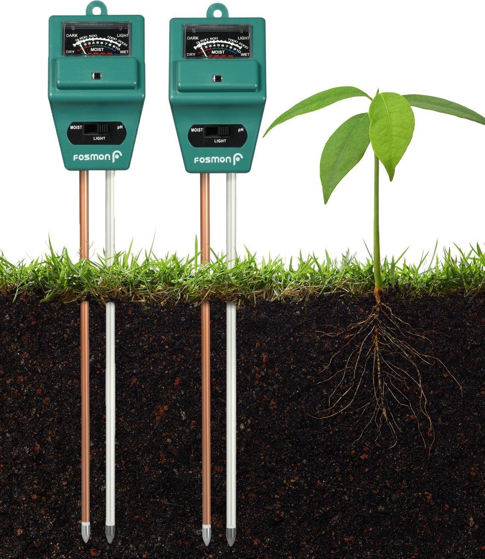 Fosmon Soil Tester Meter 2 Pack 3 in 1 Soil pH Meter Soil Sensor for Moisture Light pH Level Measurement for Growning Garden Lawn Farm Plants Flowers Vegetable Herbs More