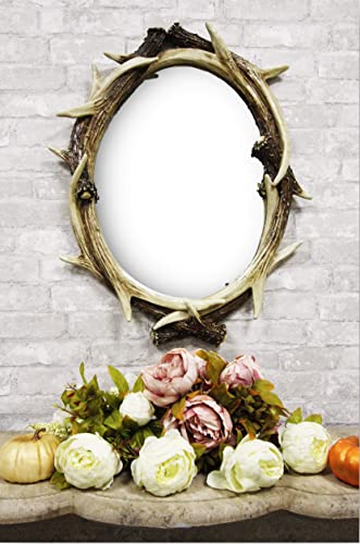 Ebros 27″ High Western Rustic Hunters Stag Deer Antlers Rack Oval Wall Mirror Decor Plaque Vintage Decorative Antler Racks Hanging Mirrors As Centerpiece Sculpture Plaque Beauty Vanity Accent