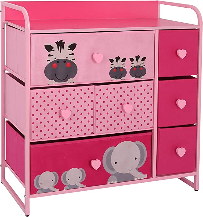 My Luna Home Kids Dresser with 7 Drawers – Nursery Storage & Organizer Furniture for Children, Toddler, Baby– Heavy Duty, Soft & Easy Pull Fabric Bins for Toys, Clothes, Playroom & Bedroom - Pink