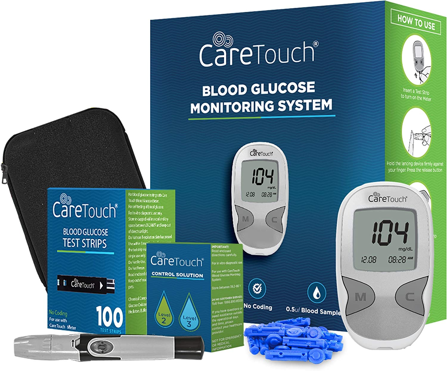 Care Touch Diabetes Blood Sugar Kit – Care Touch Blood Glucose Meter, 100 Blood Test Strips, 1 Lancing Device, 30 Gauge Lancets-100 Count, Control Solution and Carrying Case