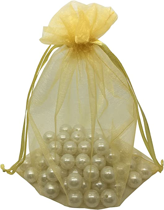 "50PCS 8x12/""Organza Drawstring Pouches Jewelry Party Wedding Favor Gift Bags Gold"