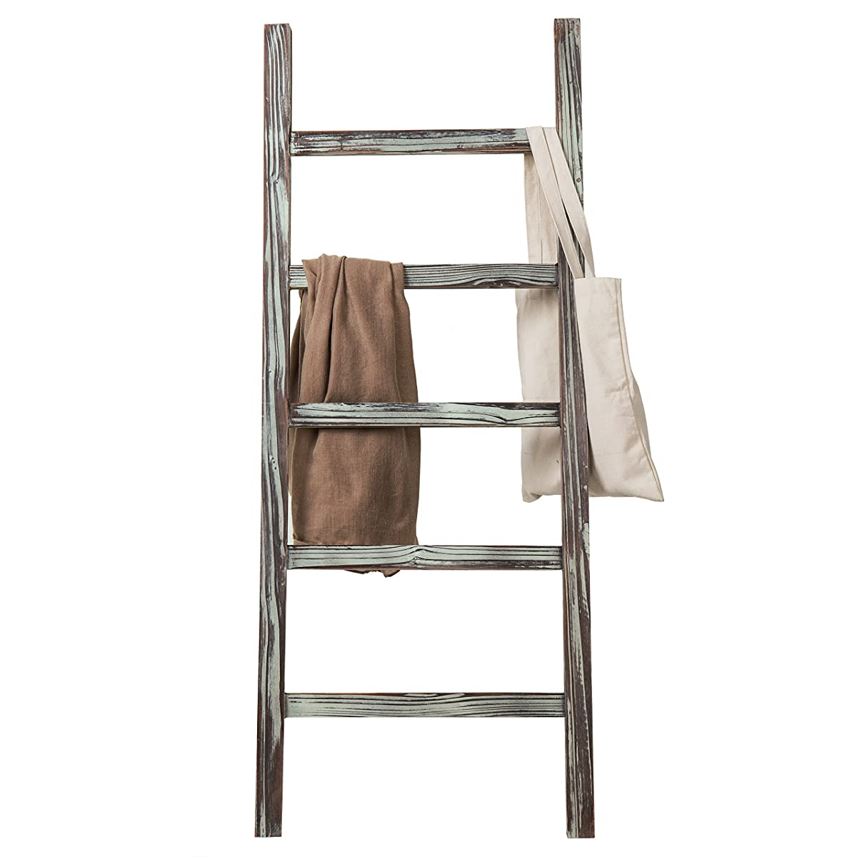 MyGift Decorative Rustic Barnwood 5-Rung Blanket Ladder Organizer, Hanging Towel Bar Rack - 48 x 19-inches