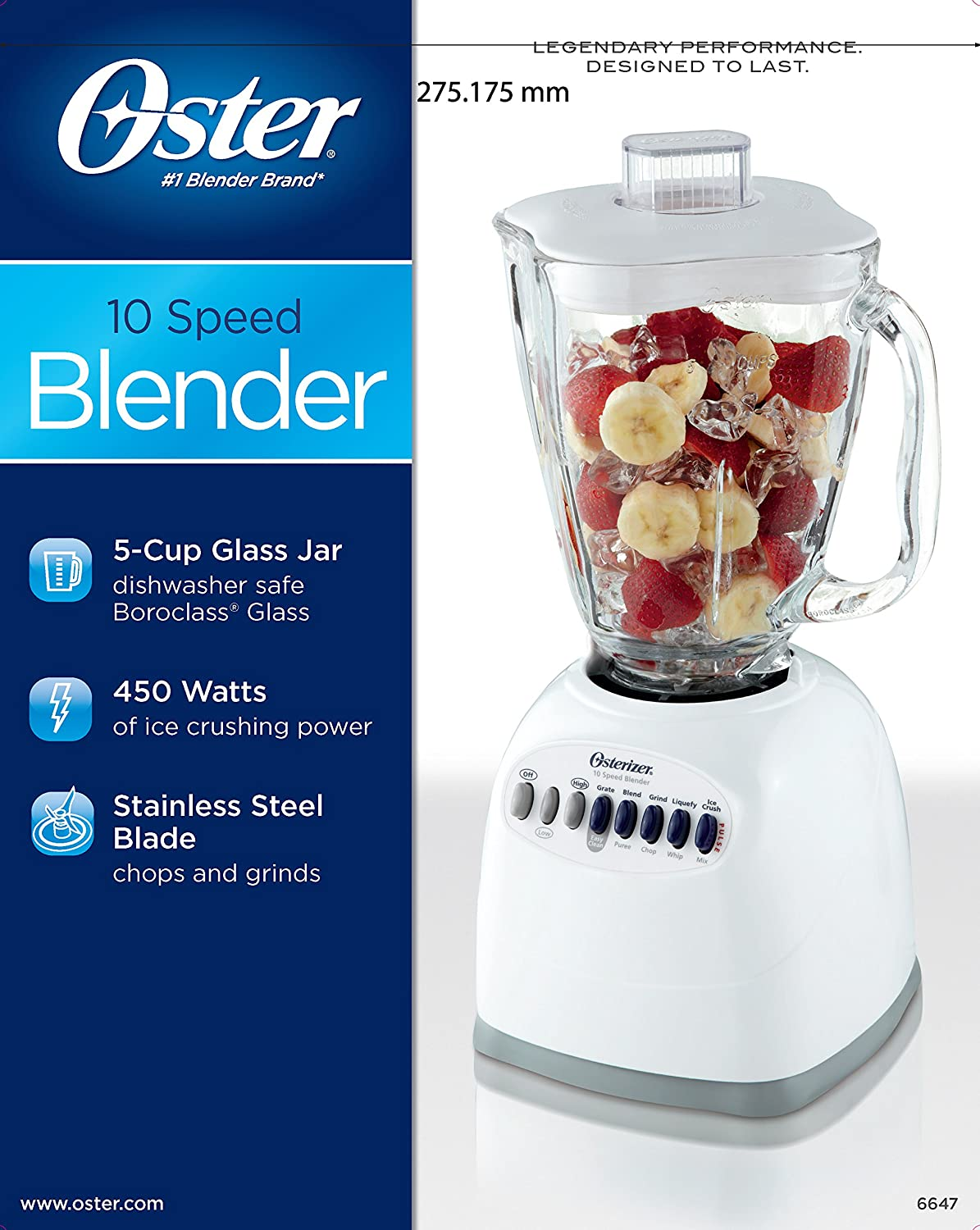 Amazon.com: Oster 6647 10-Speed Blender, White: Electric Countertop  Blenders: Kitchen & Dining
