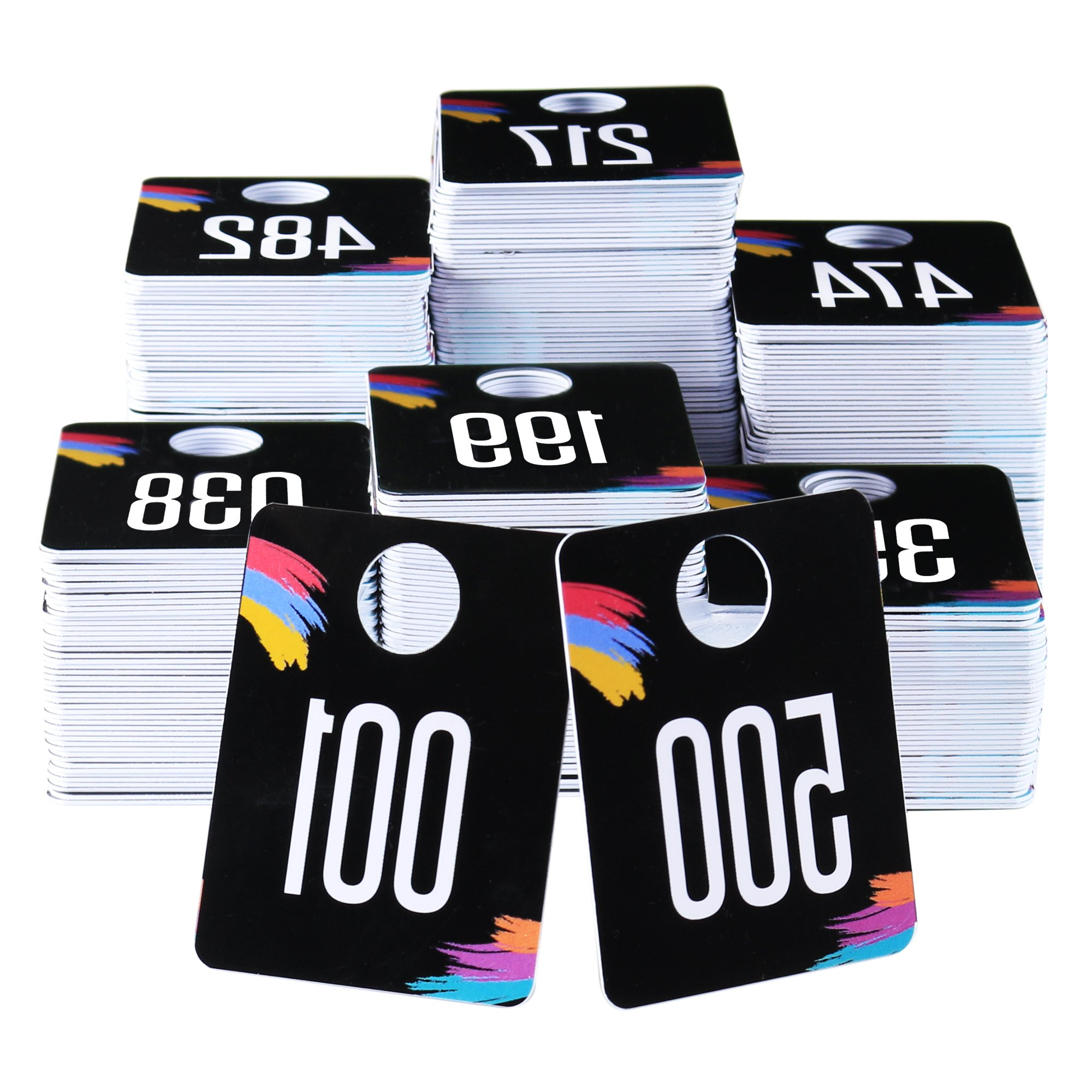 500 Tags - Live Sale Plastic Number Tags, Normal and Reverse Mirror Image, Reusable Hanger Cards, 500 Consecutive Numbers, (001-500) by Zilpoo