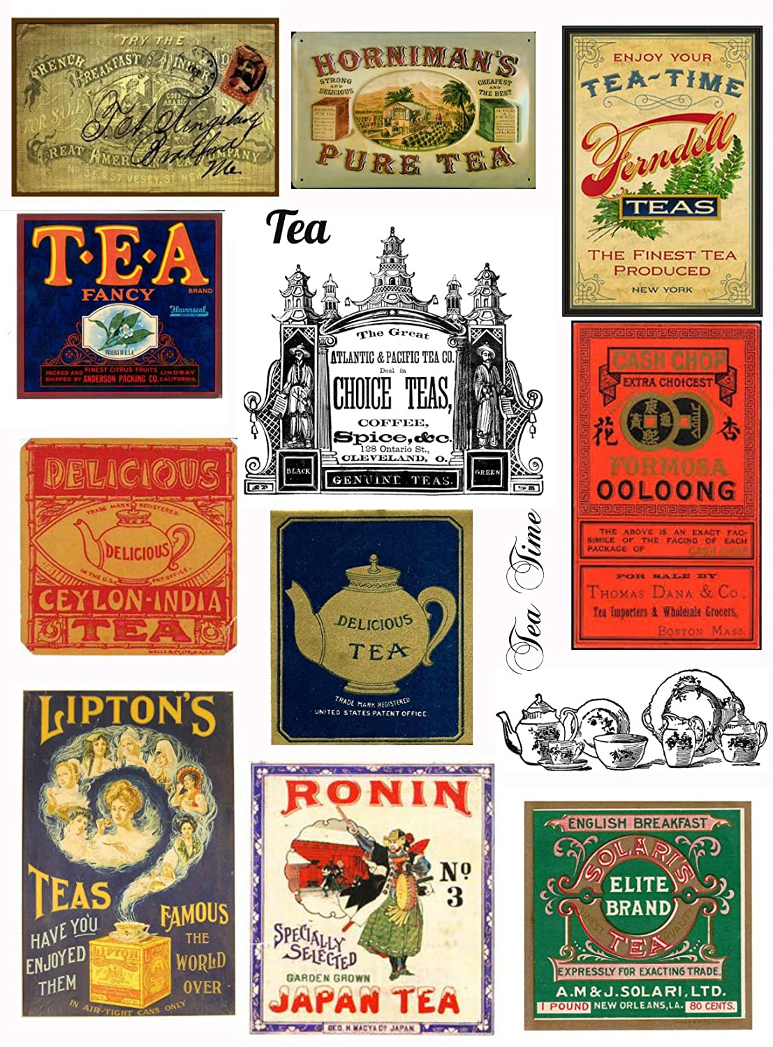 Assorted Vintage Ephemera Tea Label Images #1 on Collage Sheet for Art, Scrapbooking, Collage, Decoupage Paper Moon Media