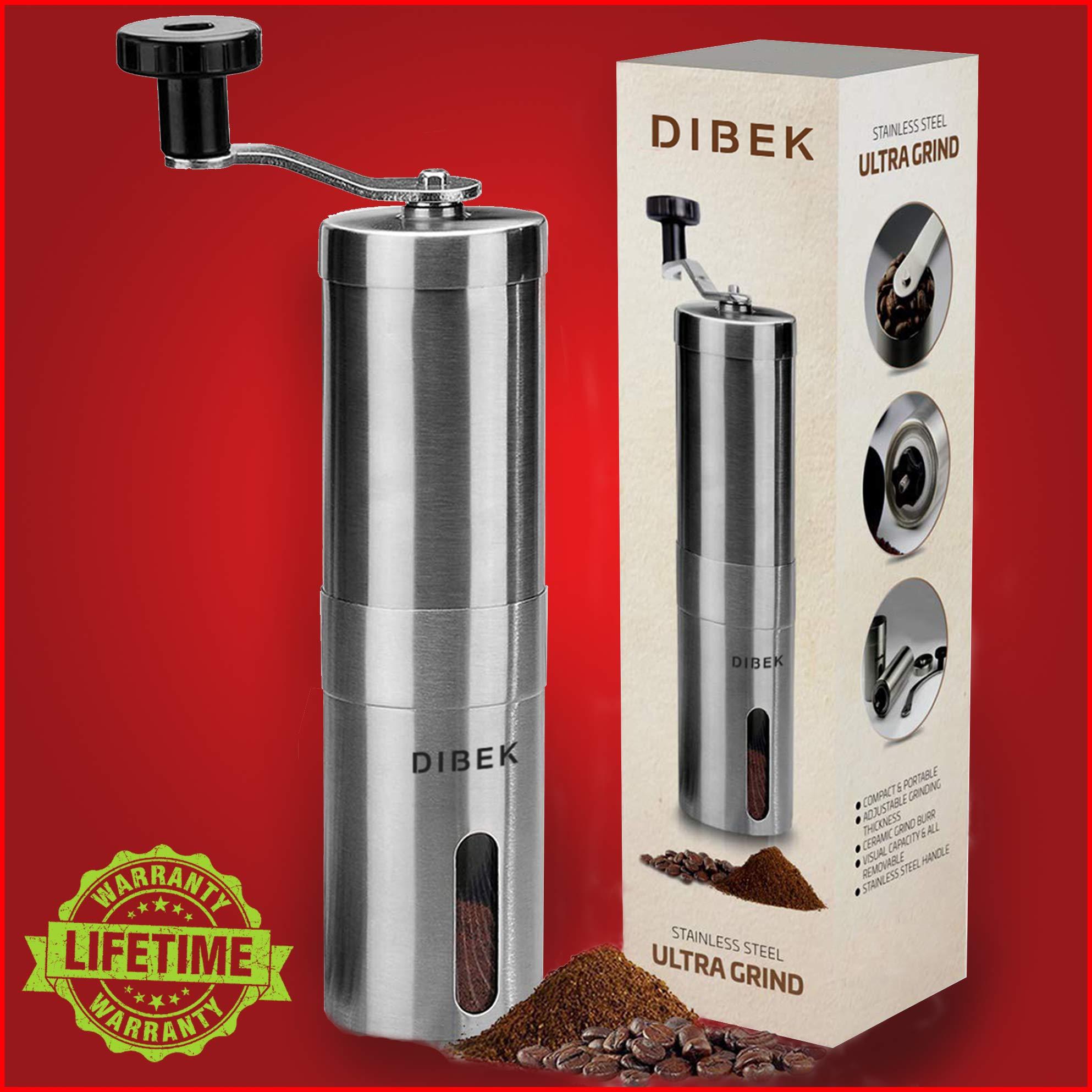 DIBEK UPGRADED VERSION Manual Coffee Grinder, Conical Burr Mill, Brushed Stainless Steel - Lifetime Warranty