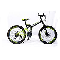 MDS Unlimited Bicycles-Foldable Sports Cycle with 24 Gears and Double disc Brake 26 inch MTB Cycle (Black Green)