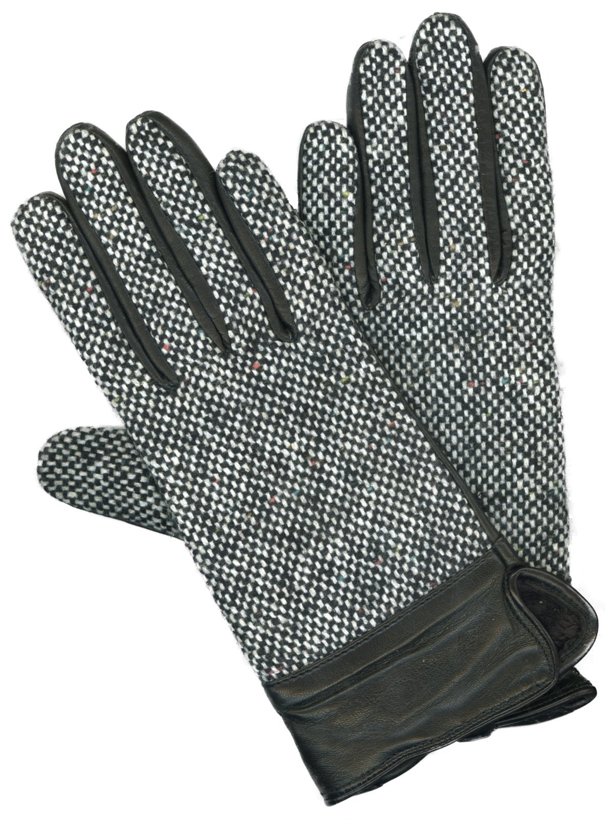 GRANDOE Women's BARLEY CORN TWEED Leather Palm Glove, Cashmere Blend Lined