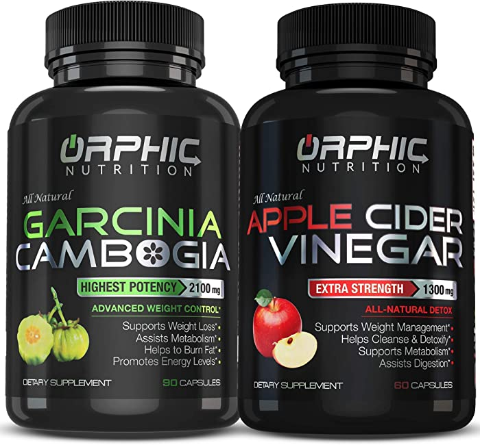 Garcinia Cambogia Extract 2100 MG & Apple Cider Vinegar 1300mg(90 + 60 Pills) - Appetite Suppressant & Carb Blocker - Detox, Cleanse, Manage Weight & Improve Digestion - Prevent Bloating & Stimulating