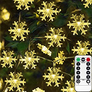 Homeleo 50 LED Warm White Snowflake Lights with Remote, Battery Operated Snowflake LED Fairy Lights String for Chrismas, Party, Wedding, New Year, Garden Décor