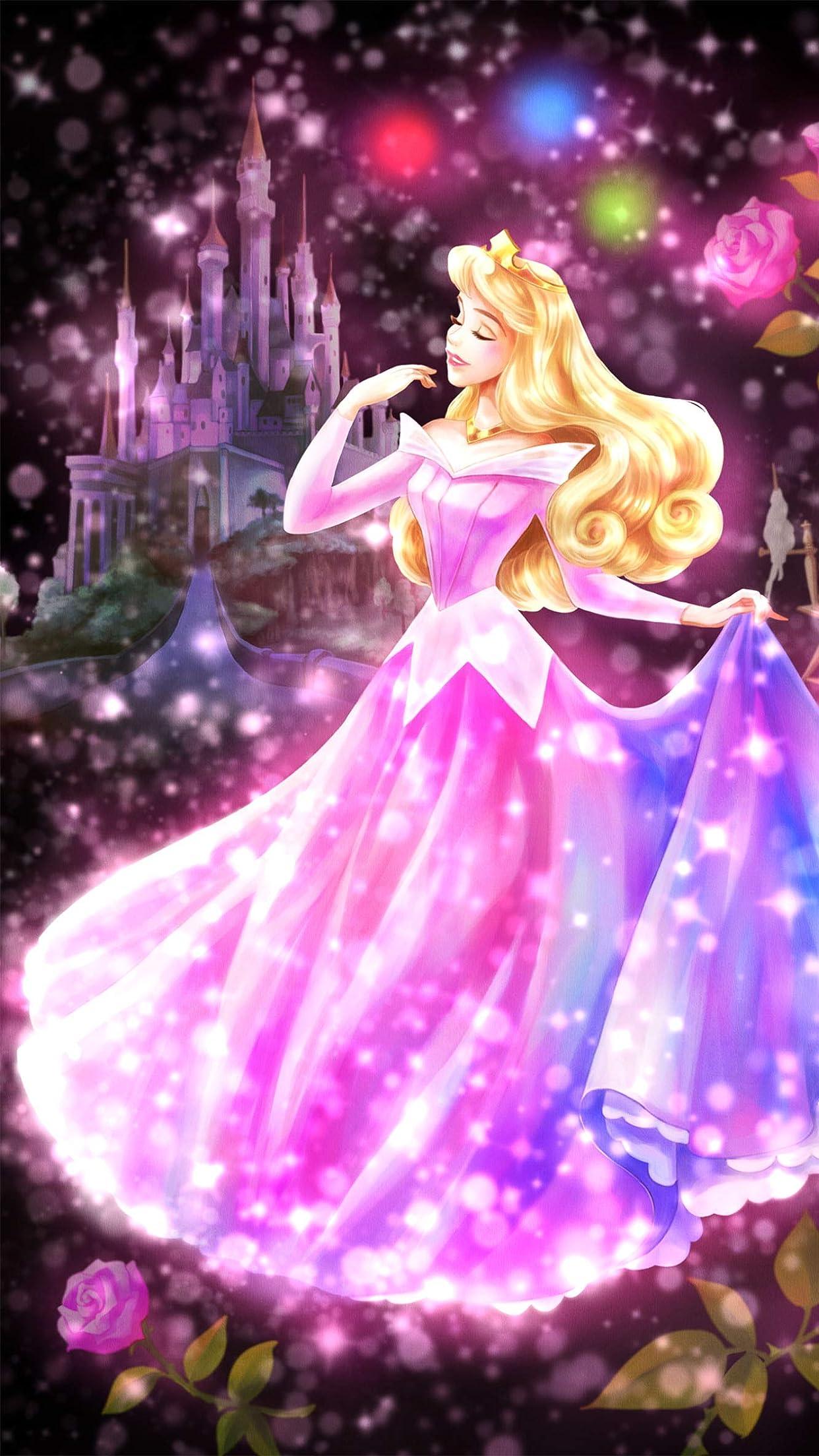 ディズニー 眠れる森の美女 恋する心の煌めき(オーロラ)  iPhone8,7,6 Plus 壁紙(1242×2208)画像