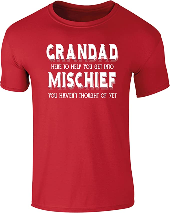 Flip Mens Grandad Help You Get Into Mischief Funny Slogan T-Shirt