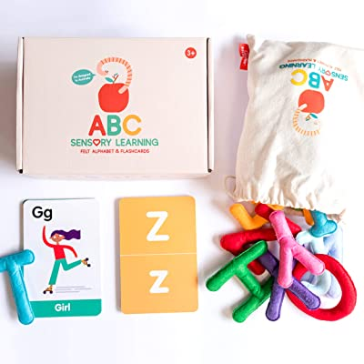 Curious Columbus Felt Alphabet and Flashcards. Set of 26 Handcrafted Uppercase Letters with Matching ABC Flash Cards. Teach How to Read, Learn to Spell and Practice Phonics: Toys & Games