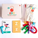 Curious Columbus Felt Alphabet and Flashcards. Set of 26 Handcrafted Uppercase Letters with Matching ABC Flash Cards. Teach How to Read, Learn to Spell and Practice Phonics