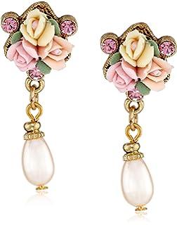 Amazoncom 1928 Jewelry Porcelain Rose Pearl Drop Earrings