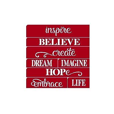 "Darice Inspire Believe Dream Word Stencil: 12 X 12"", 8 Designs: Toys & Games"