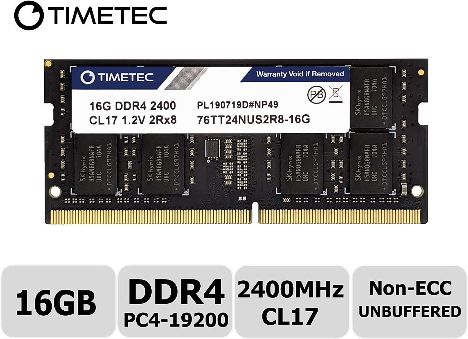 Timetec Hynix IC 16GB DDR4 2400MHz PC4-19200 Non ECC Unbuffered 1.2V CL17 2Rx8 Dual Rank 260 Pin SODIMM Laptop Notebook Computer Memory Ram Module Upgrade(16GB)