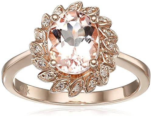 10k Rose Gold Morganite and Diamond Flower Halo Ring 0.07 cttw, H-I Color, I1-I2 Clarity , Size 7