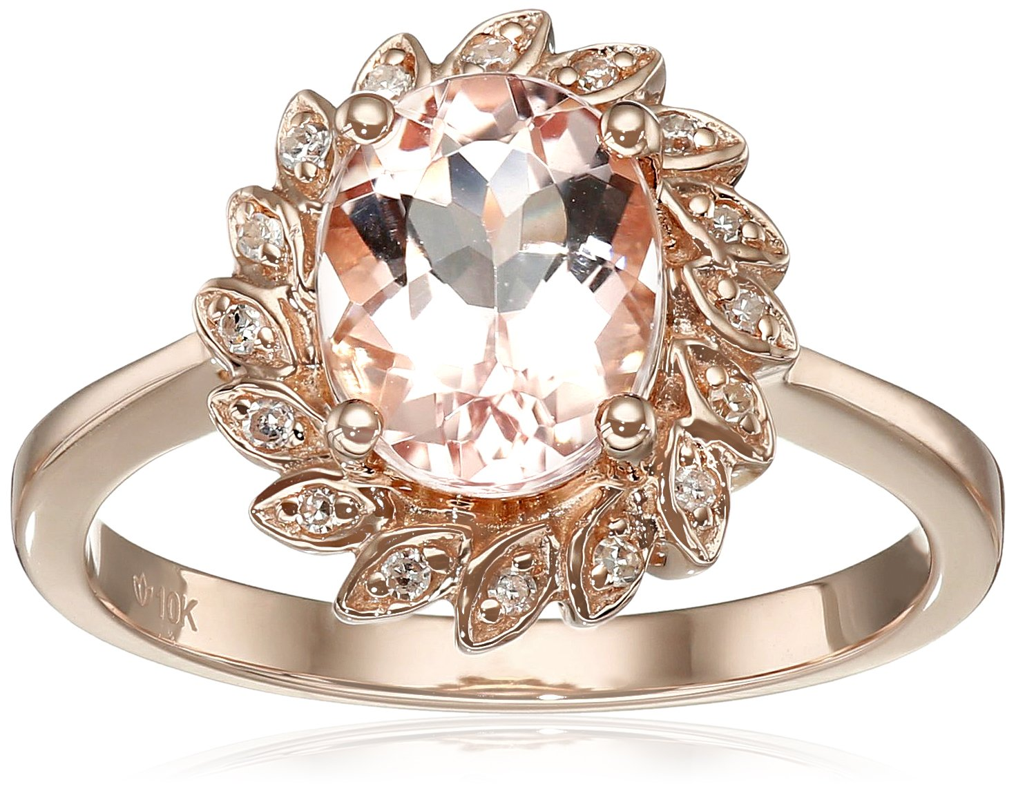 10k Rose Gold Morganite and Diamond Flower Halo Ring (0.07 cttw, H-I Color, I1-I2 Clarity), Size 7