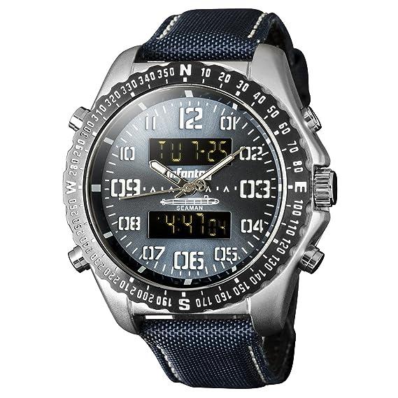 Infantería para hombre Dual Display táctico militar Multifunción deporte reloj de pulsera analógico con banda de
