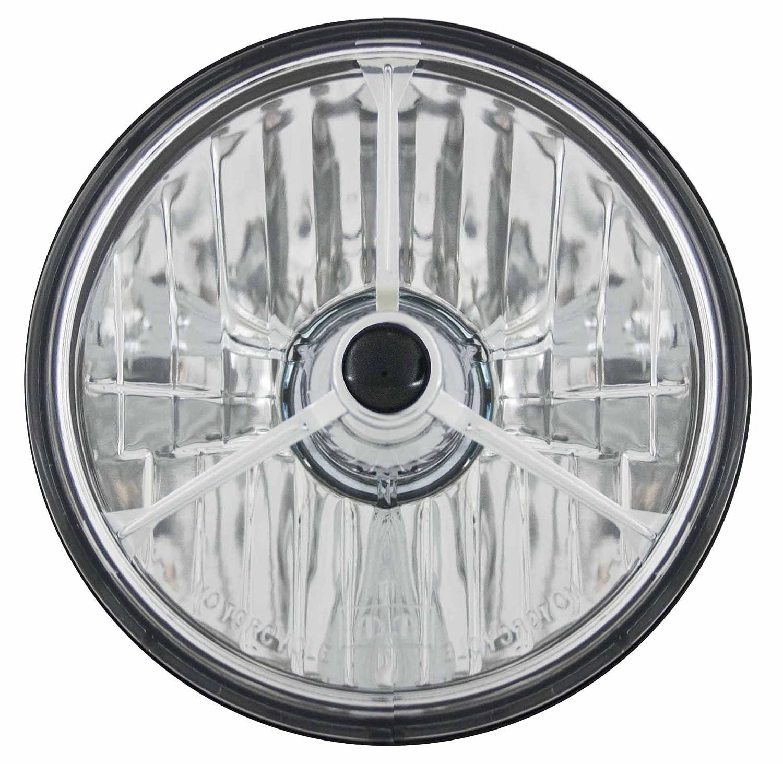 Adjure T50304 5-3//4 Diamond Cut Trillient Black Dot Tri-Bar Motorcycle Headlight with H4 Bulb