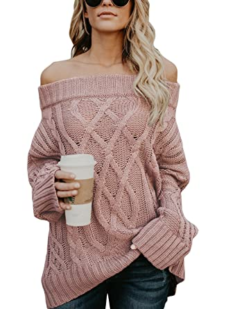 6b0e3bdd5bdce5 Image Unavailable. Image not available for. Color  ROSKIKI Womens Long  Sleeve Off The Shoulder Winter Warm Batwing Baggy Knited Pullover Sweaters Tops  Pink