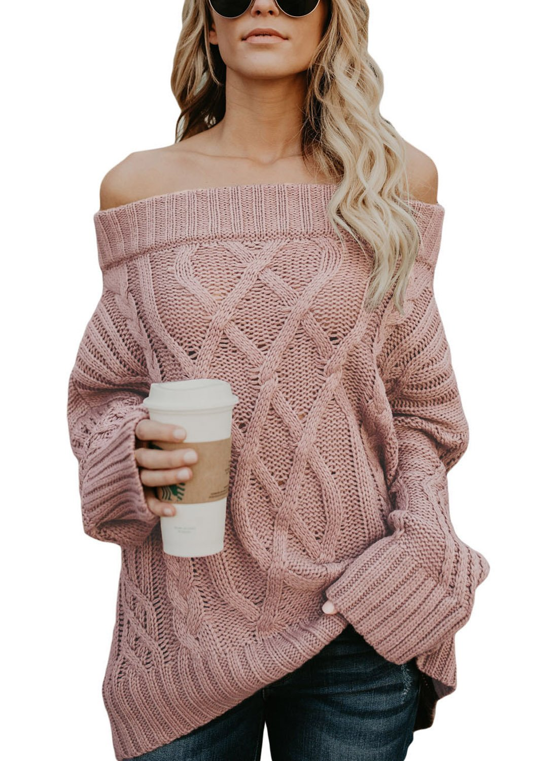 ROSKIKI Womens Long Sleeve Off The Shoulder Winter Warm Batwing Baggy Knited Pullover Sweaters Tops Pink S