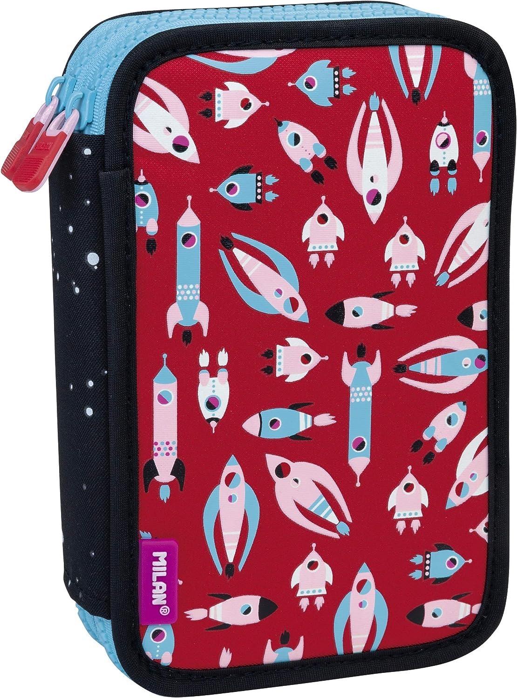 MILAN Plumier 2 Pisos con Contenido Super Heroes Space Rosa Estuches, 20 cm, Rosa: Amazon.es: Equipaje