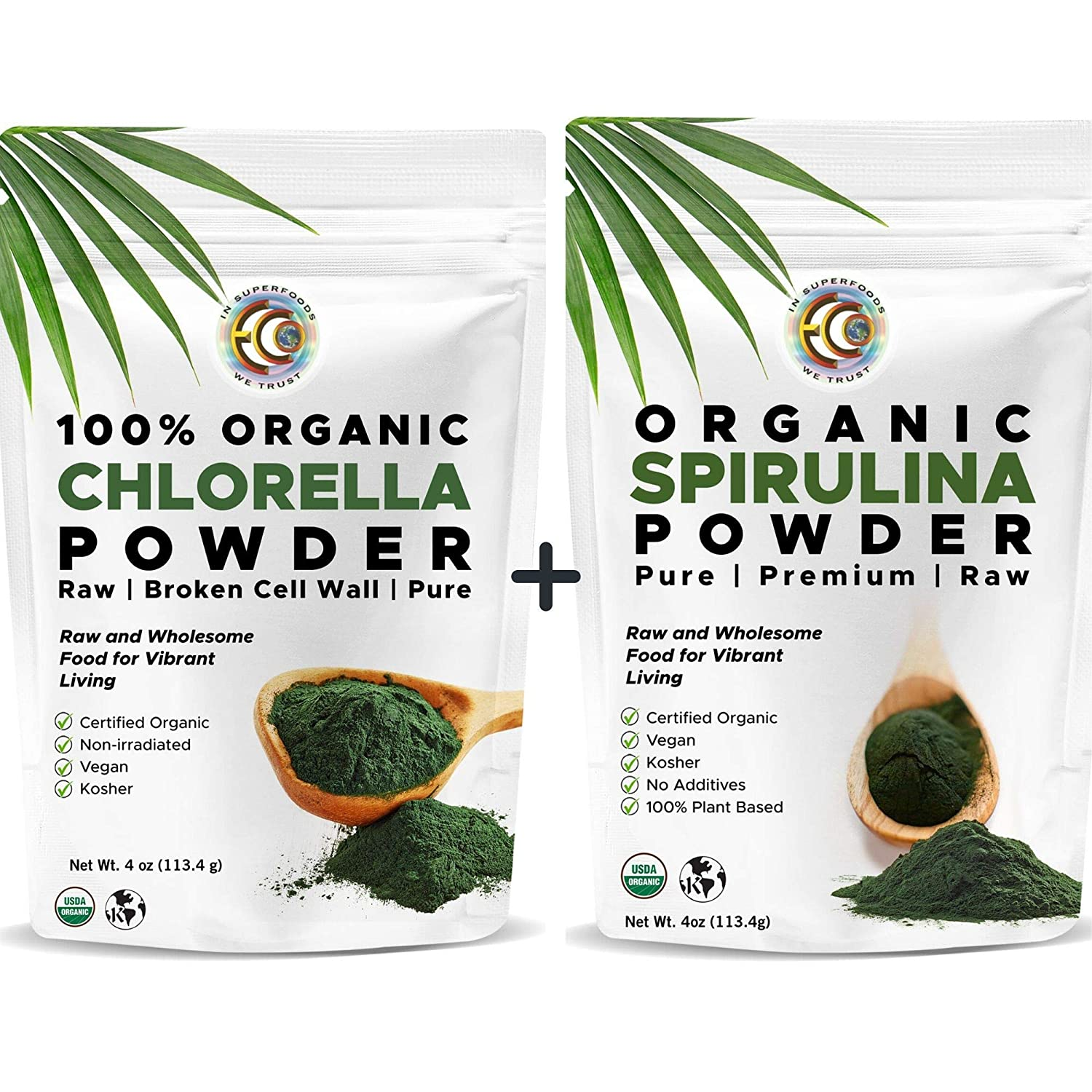 Earth Circle Organics | Organic Spirulina & Chlorella Powder, Kosher, Non-Irradiated | Pure Vegan Protein | Premium Superfood, High in Amino Acids and Antioxidants
